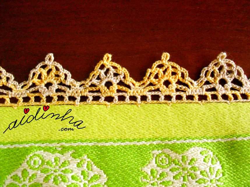 Pormenor do crochet do pano turco de cozinha verde