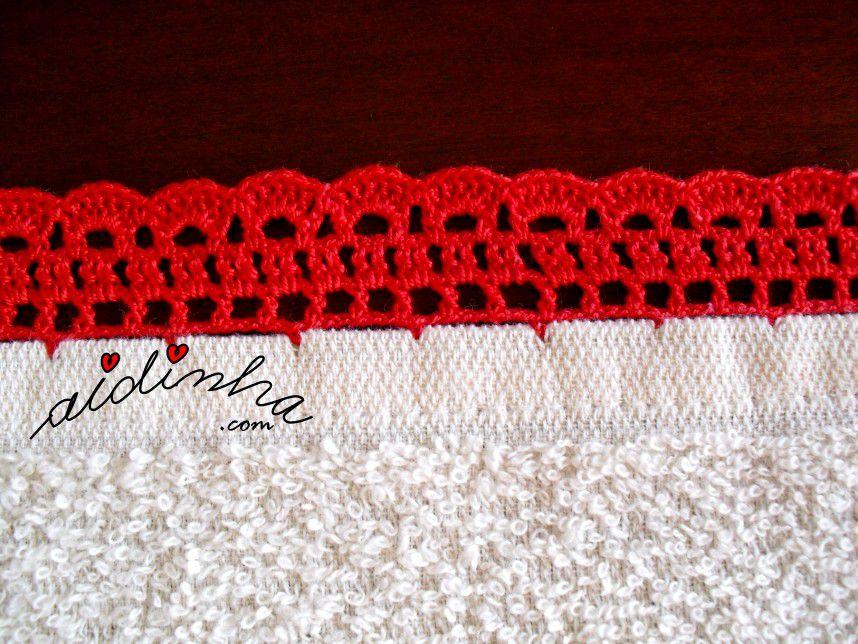 Pormenor do crochet do pano turco de cozinha creme