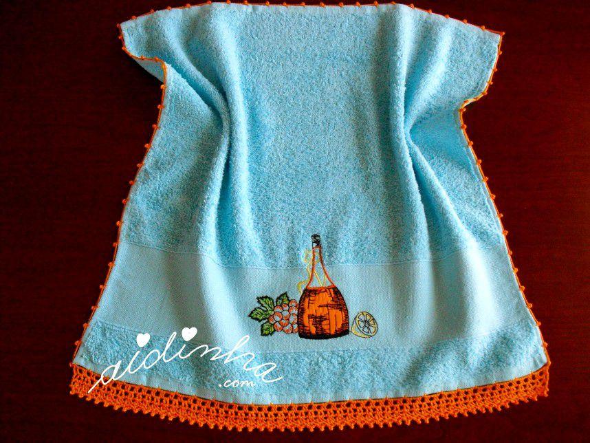 Pano turco de cozinha turquesa, com crochet