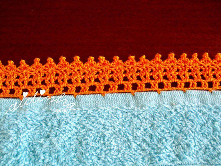 Pormenor do crochet do pano turco de cozinha turquesa