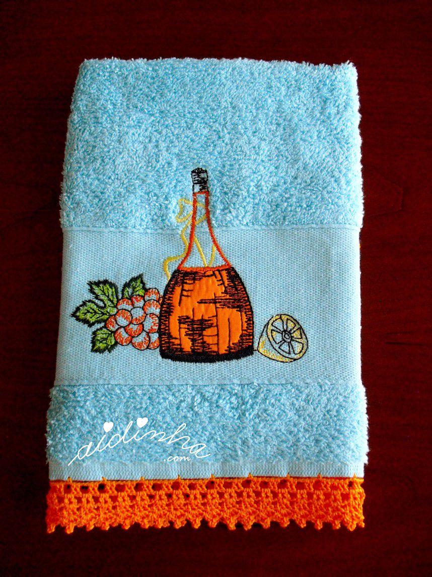 Outra foto do pano turco de cozinha turquesa, com crochet