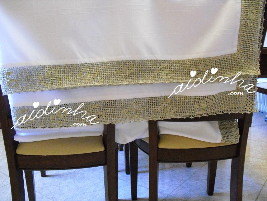 Detalhe do crochet da toalha de mesa anti-nódoas