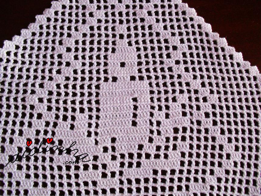 Motivo do centro de Natal, com linho e crochet