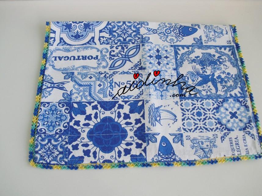 pano da louça do conjunto de avental e pano, com crochet