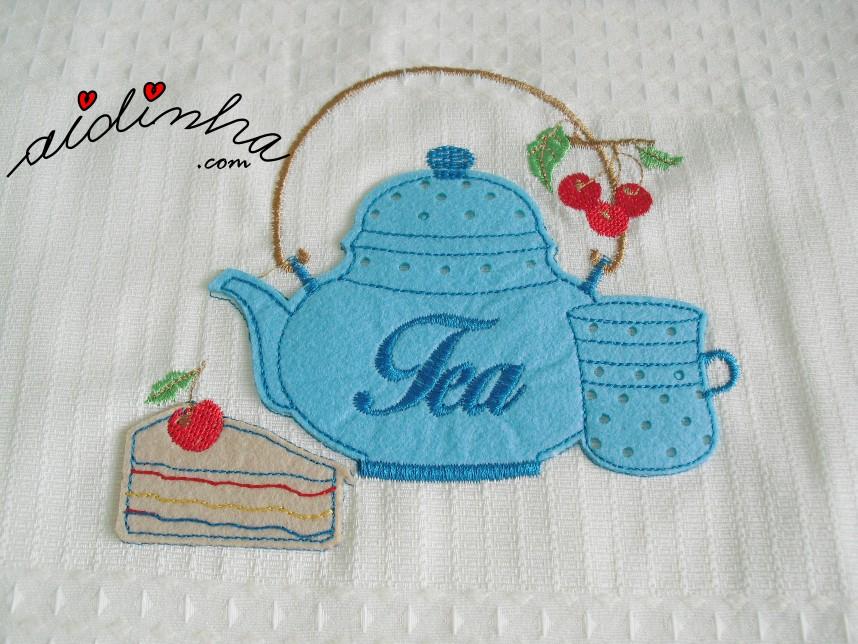 aplicação do conjunto de panos de cozinha, com crochet