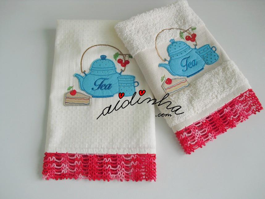 Conjunto de panos de cozinha com crochet, vermelho matizado