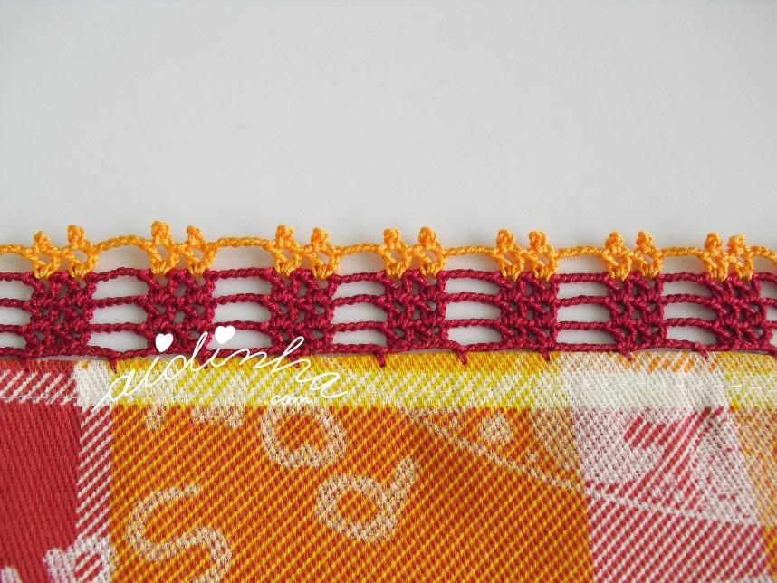 ponto de crochet do conjunto de toalhinha e pega