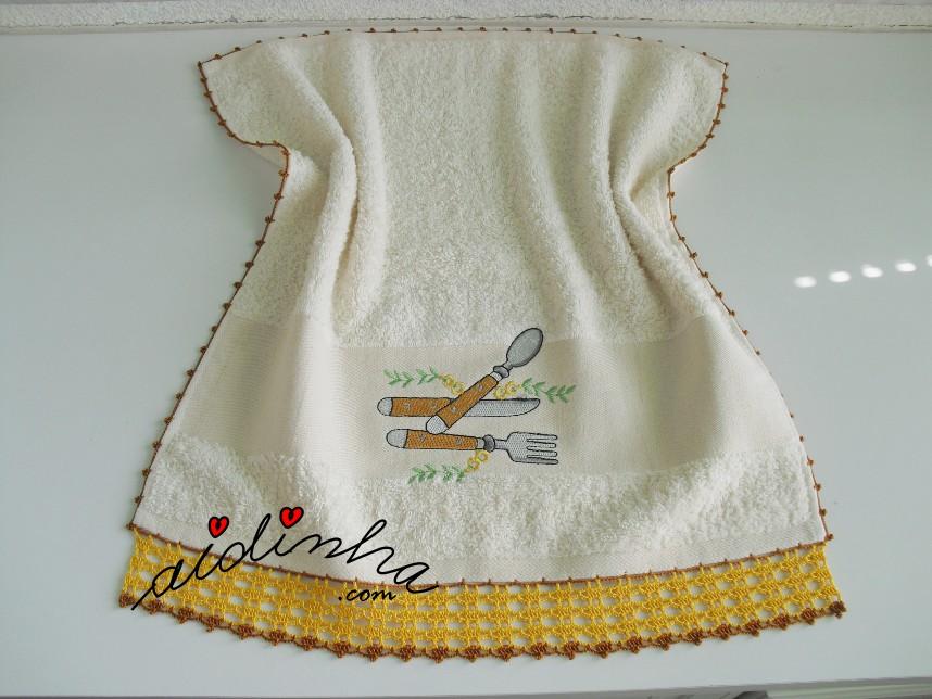 pano turco do conjunto de cozinha com crochet amarelo e castanho