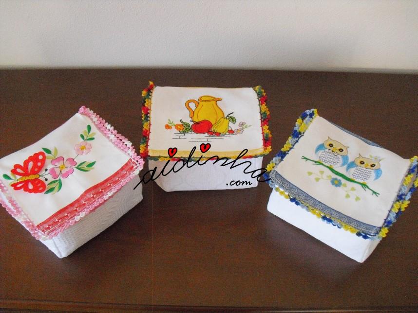 Caixas para guardanapos com crochet
