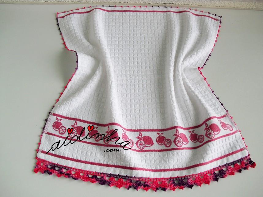pano de cozinha, branco, com crochet