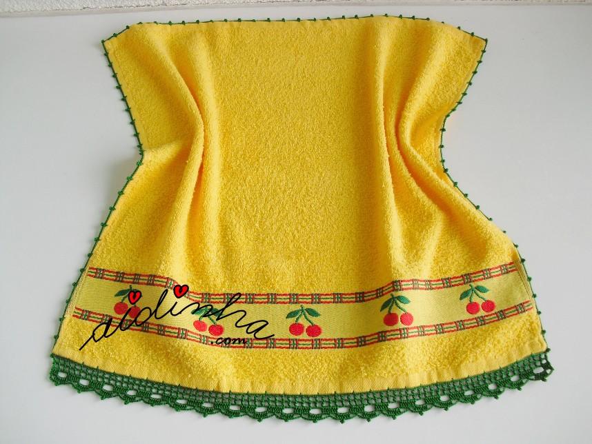 pano de cozinha, amarelo, com crochet