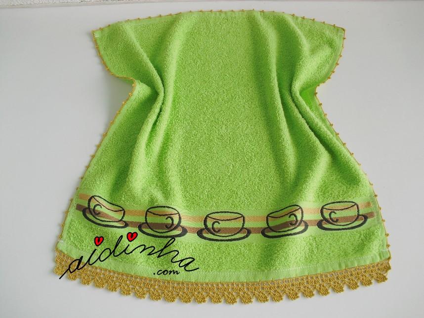 pano de cozinha, verde, com crochet