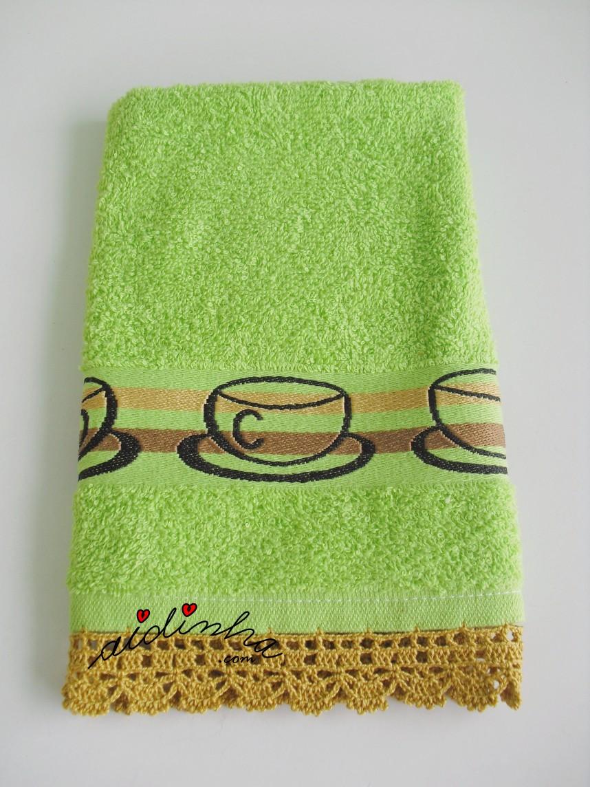 pano verde com crochet