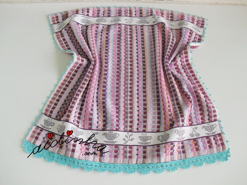 pano de cozinha, colorido, com crochet