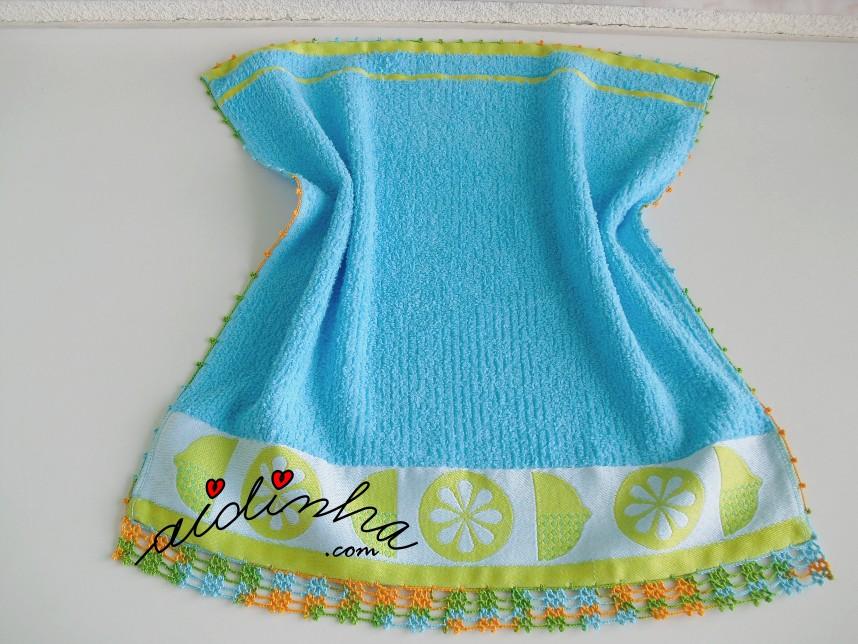 pano de cozinha, turquesa, com crochet
