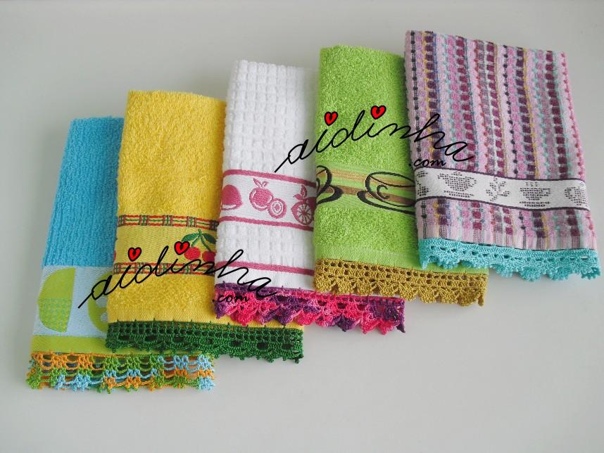 conjunto de panos turcos de cozinha, com crochet