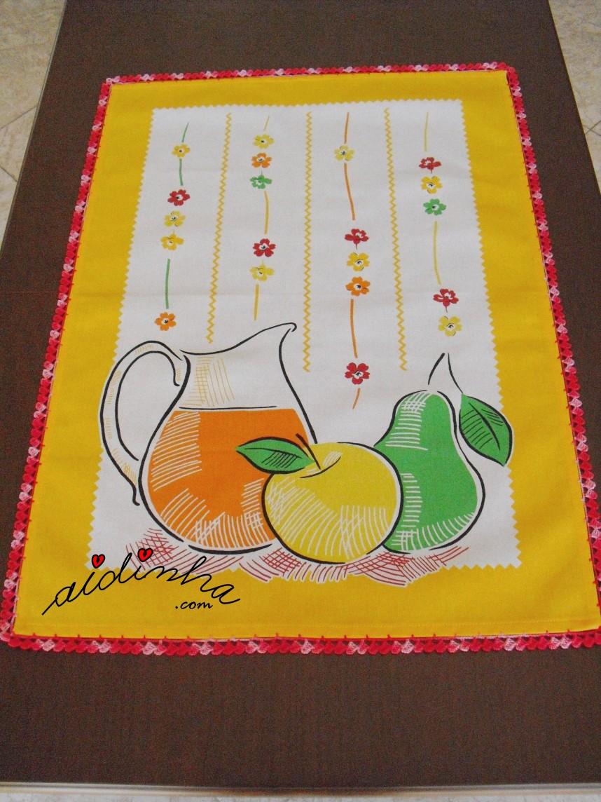 pano com crochet do conjunto de toalha de mesa + pano de cozinha