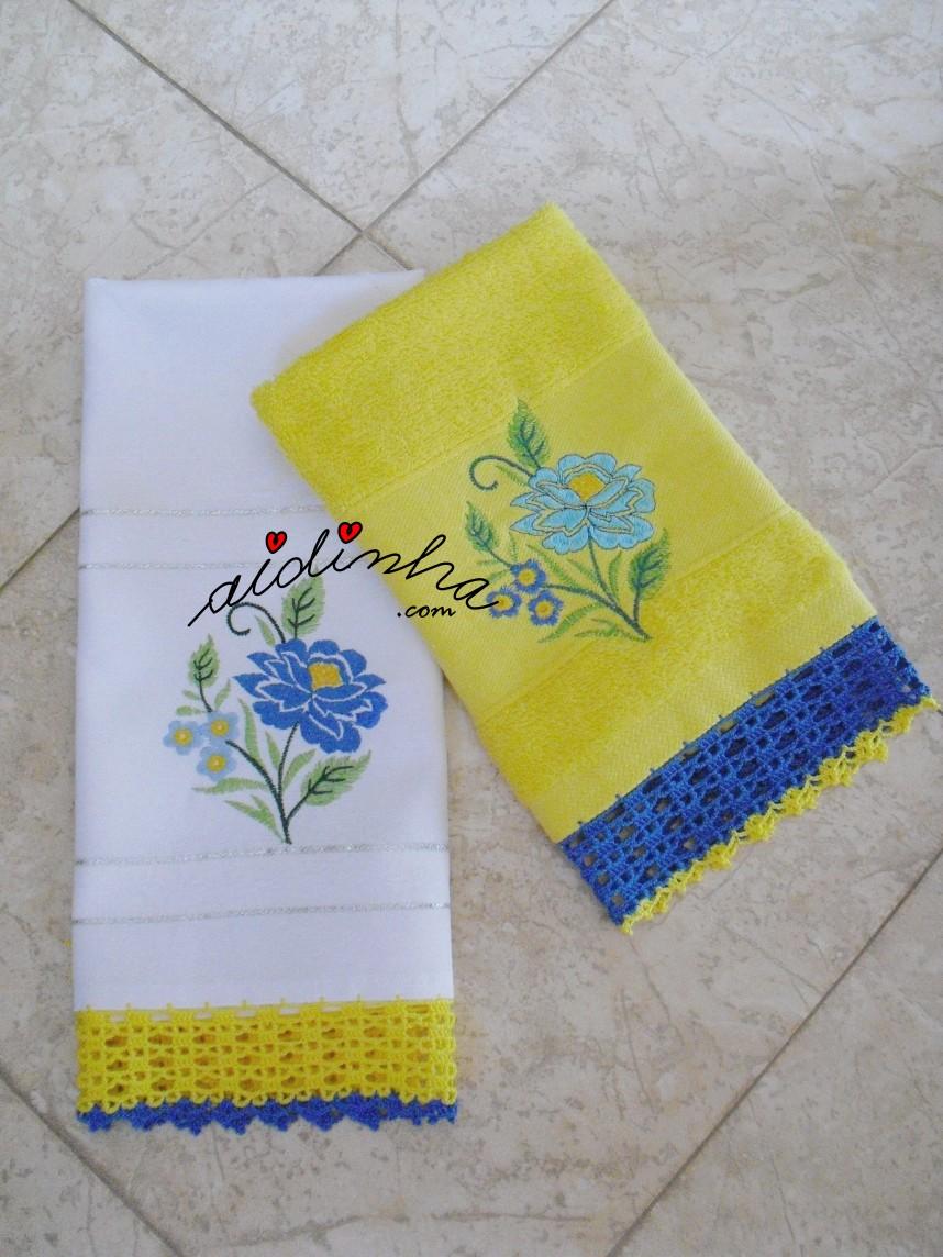 conjunto de panos de cozinha, bordado e com crochet