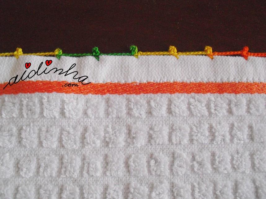 acabamento em crochet do conjunto de panos turcos de cozinha