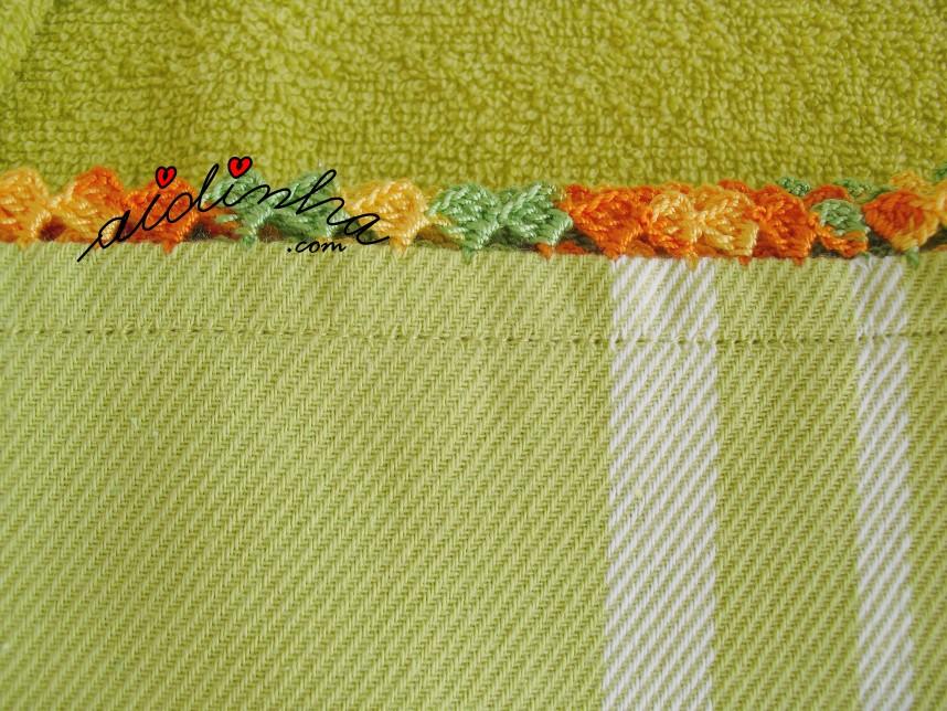 pormenor do crochet do conjunto de panos de cozinha verde