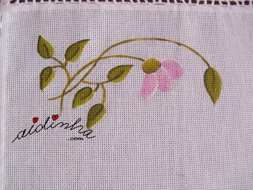 ramo pequeno pintado à mão do conjunto de quarto pintado e com crochet